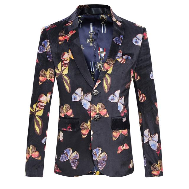 Nova Moda Slim Fit Homens Blazer Impressão Borboleta Dois Botões casuais Mens Jaqueta Blazer Floral Vestido Tendência Terno Palco Para cantor