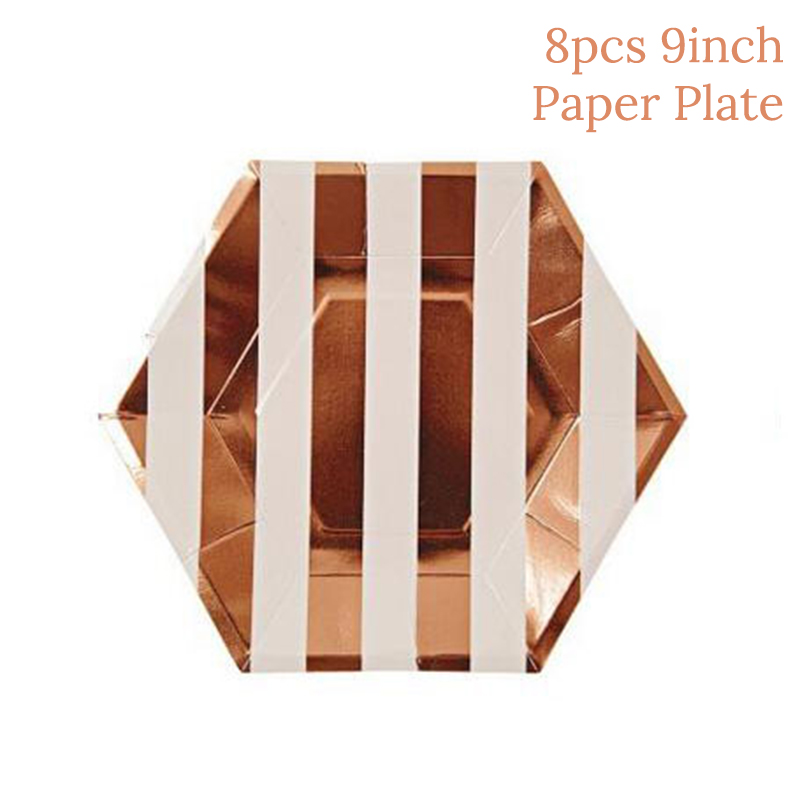 Rose Gold Decoration Party Disposable Tableware Set Paper Straw Wedding Birthday Party Decoration Adult EID MUBARAK Decorations