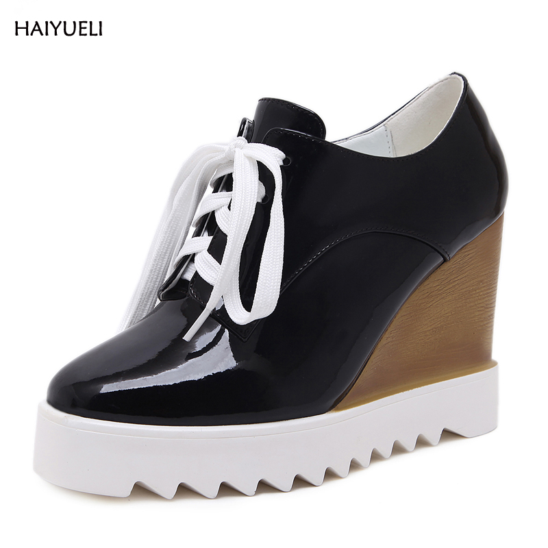 HAIYUELI Women's Shoes Punk Creepers Oxfords platform Ankle shoes Patent leather casual wedges  Lace up Lady with high heels bling patent leather oxfords 2017 wedges gold silver platform shoes woman casual creepers pink high heels high quality hds59