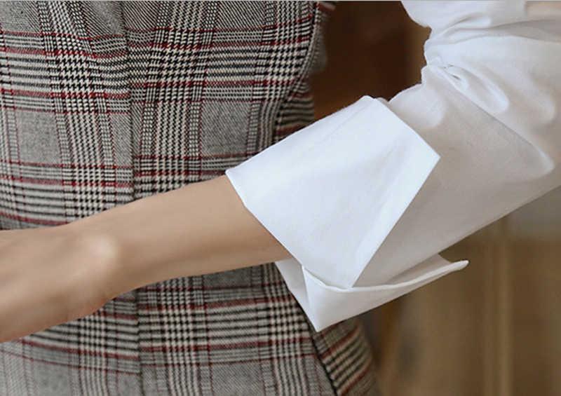 Повседневное клетчатое лоскутное платье с отложным воротником женское платье-карандаш с длинным рукавом облегающее мини-платье женское OL Стиль тонкое Vestidos femme