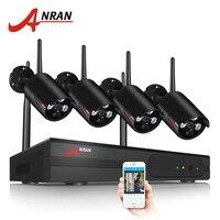 ANRAN 4CH охранная камера Система беспроводной 1080P HD Wifi NVR 4 шт. наружная водостойкая ip-камера домашняя беспроводная система видеонаблюдения