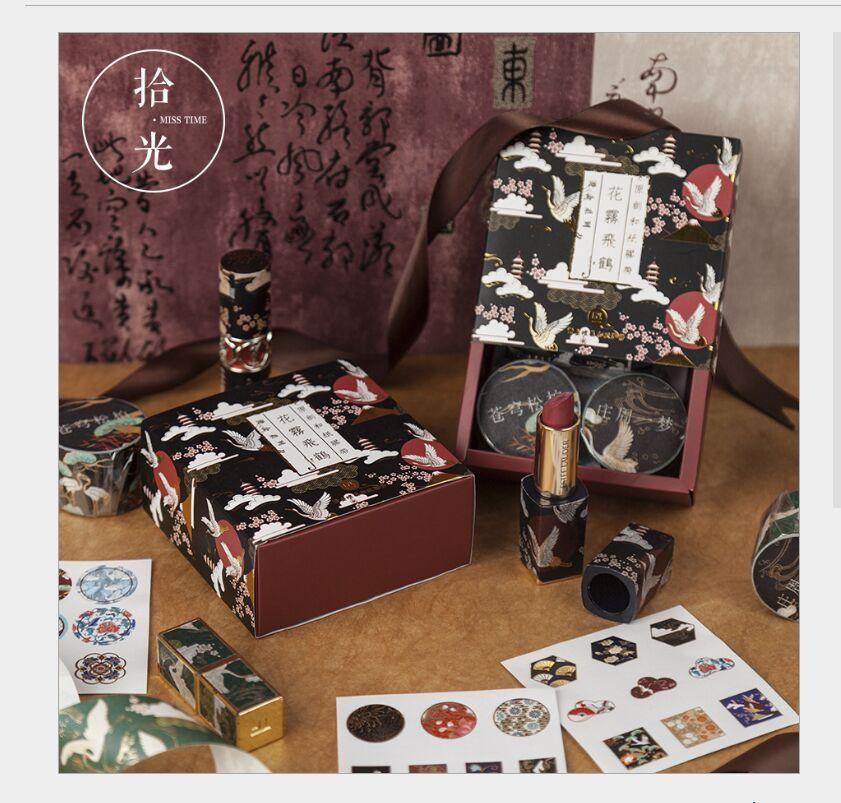 Gift Box Gold Foil Flying Crane Japan Sakura Flowers Ocean Whale Stars Moonlight Fantasy Washi Tape DIY Planner Scrapbooking