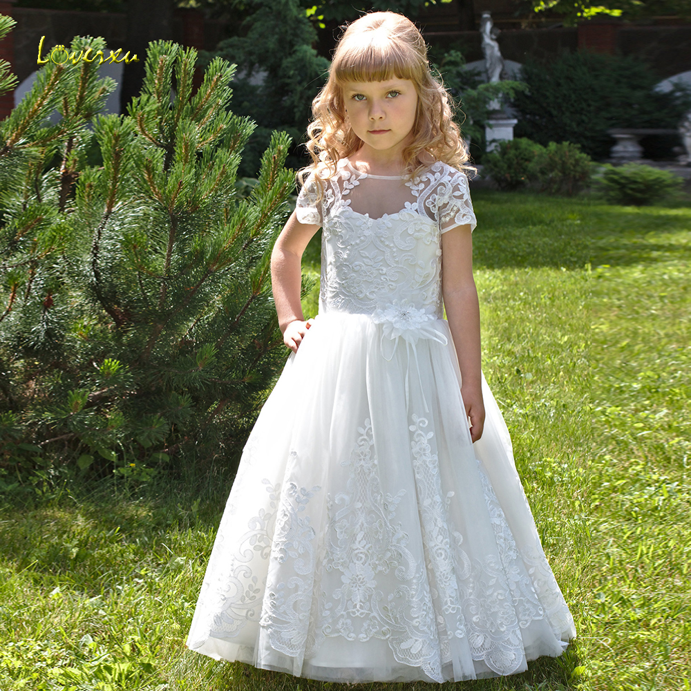 Loverxu Classic Scoop Ball Gown Floor Length   Flower     Girl     Dresses   Chic Applique Beading Short Sleeve Backless Wedding Party   Dress