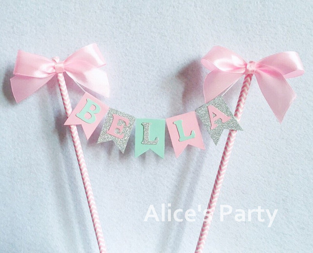 Personalized Kids Girl Name Cake Topper Bunting Baby Shower Party Cake  Banner Flag Birthday Party Flag