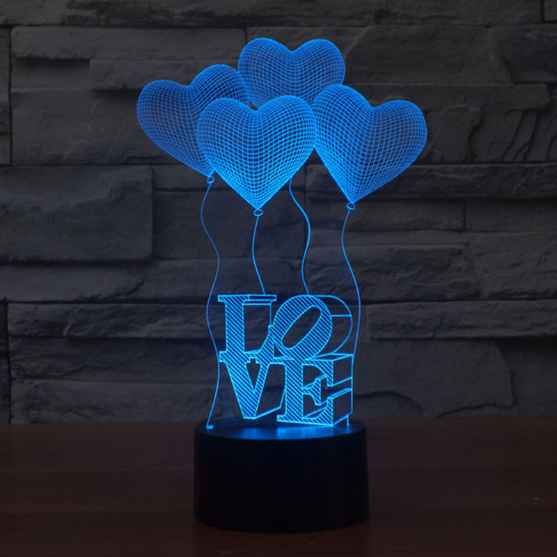 Free Shipping fantastic design 3D DECOR I Love you shape creative night Light cool lamp as Valentine gift i love you heart shape led 3d night
