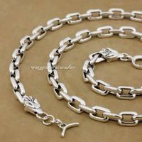 925 Sterling Silver Wolf Mens Biker Rocker Necklace 8G012N Punk Jewelry 18 to 36
