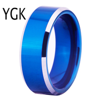 Free Shipping Hot Sales 8MM Width Blue Color With Shiny Bevel Custom Ring Blank Ring New