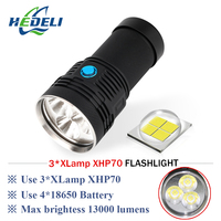 LED glare flashlight CREE XHP70 LED lantern rechargeable photography video light waterproof tactical flashlight 18650 battery