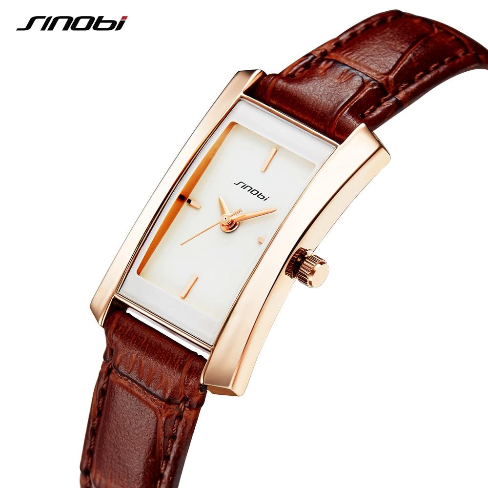 Sinobi Couple Watches Wedding Gift Noble Rose Gold Rectangle Wristwatch Brown Strap Men Women Analog Quartz Lovers Watch Fashion