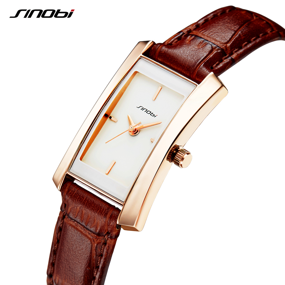 Sinobi Couple Watches Wedding Gift Noble Rose Gold Rectangle Wristwatch Brown Strap Men Women Analog Quartz Lovers Watch Fashion