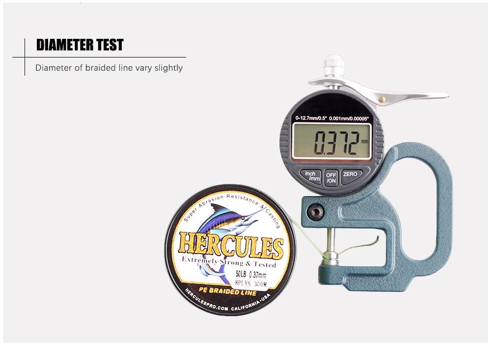 Hecules 8 Strands 50 LBS Diameter Test