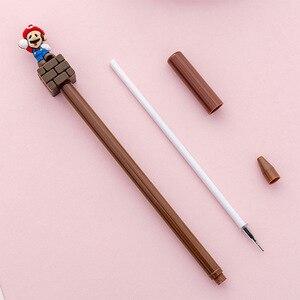 Image 4 - 24個スーパーかわいいスーパーメアリーゲルペン漫画クリエイティブな文房具キノコペン黒かわいい学校書き込みためのペンを提供