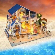 DIY светодиодный кукольный домик морская миниатюрная вилла с мебели деревянный дом комната Модель комплект подарки игрушки для детей Дети Кукольный дом игрушка