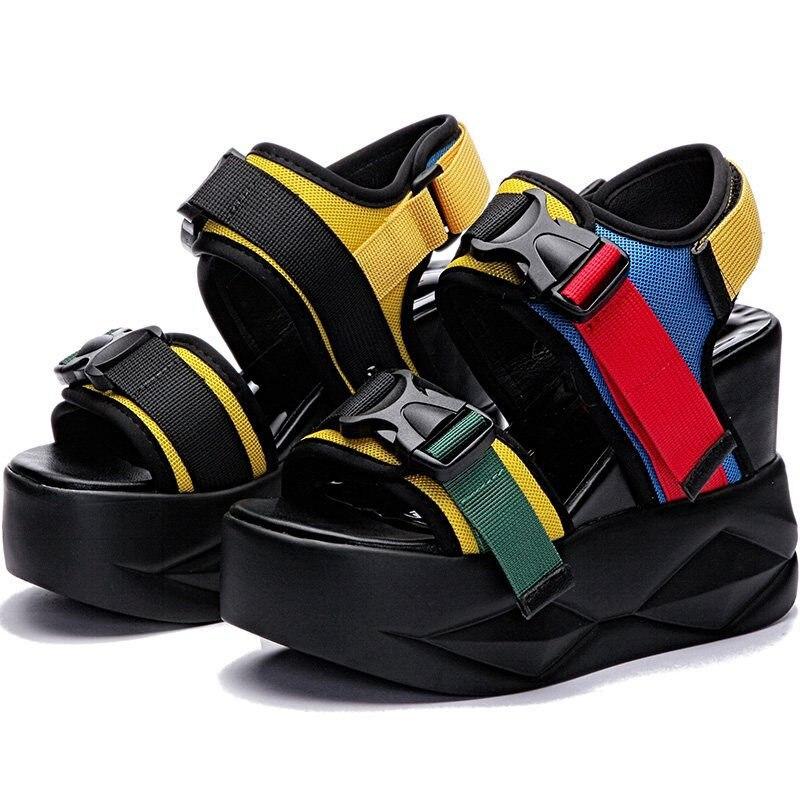 NAYIDUYUN/Летние босоножки; женские кожаные сандалии гладиаторы со стразами на платформе; босоножки на высоком каблуке; кроссовки с ремешками