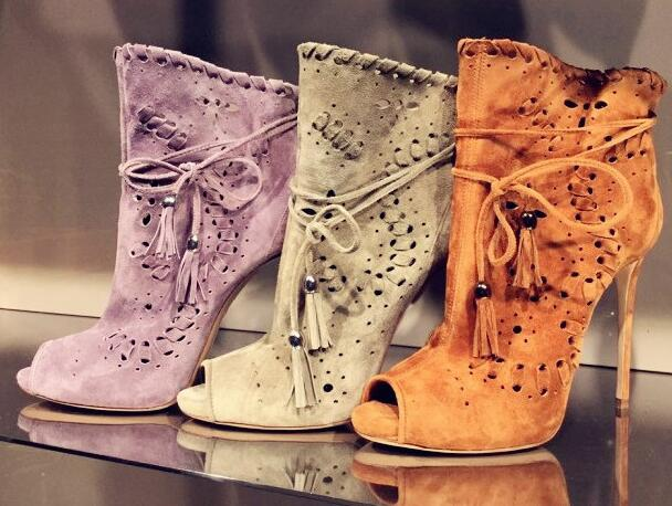 Spring Fashion Suede Leather Women Cut Out Ankle Boots Sexy Peep Toe Ladies Lace Up Boots Female High Heel Boots Size 42 moraima snc spring summer newest fashion women boots peep toe lace up ankle lace up sexy thin super high heel