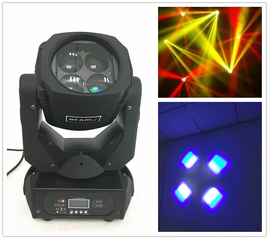 free shipping Clay Paky Beam 4X25W Mini Moving Head Light Super Power LED Stage DJ Disco Bar DMX Lighting Beam Sound Active Lamp