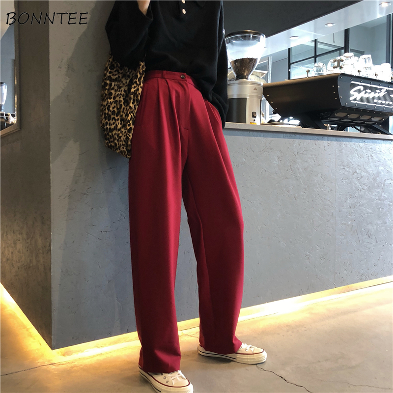 Pants   Women Trendy Spring Clothing Korean Style Female Loose High Womens Leisure Students Trousers All-match Solid   Wide     Leg     Pant