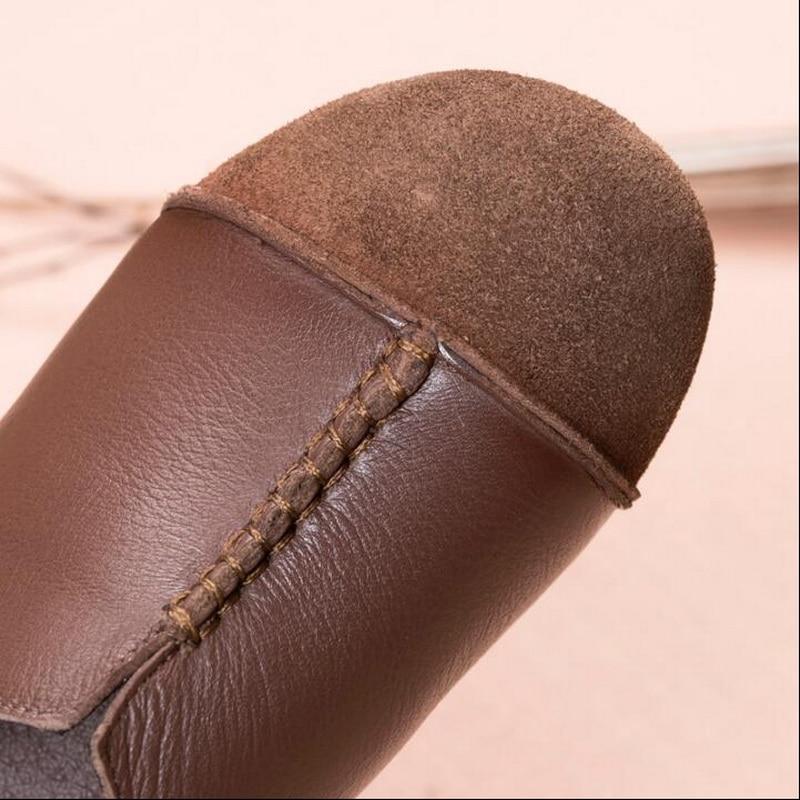 Confortable Sur Femmes De Plat Conduite Occasionnels Chaussures Mocassins marron Véritable Noir En Des Cuir Glissement Rushiman Ventilation Appartements 6CdpqxvC