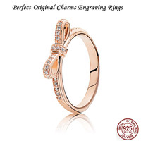 Vintage Perfect Engraved Charms logo Sparkling Bow Rose Ring, Jewelry Collections & UR Urban girl