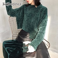 TWOTWINSTYLE Velvet Knitted Sweater Women Autumn Long Sleeve Irregular Black Tops Loose Big Size Pullovers Female