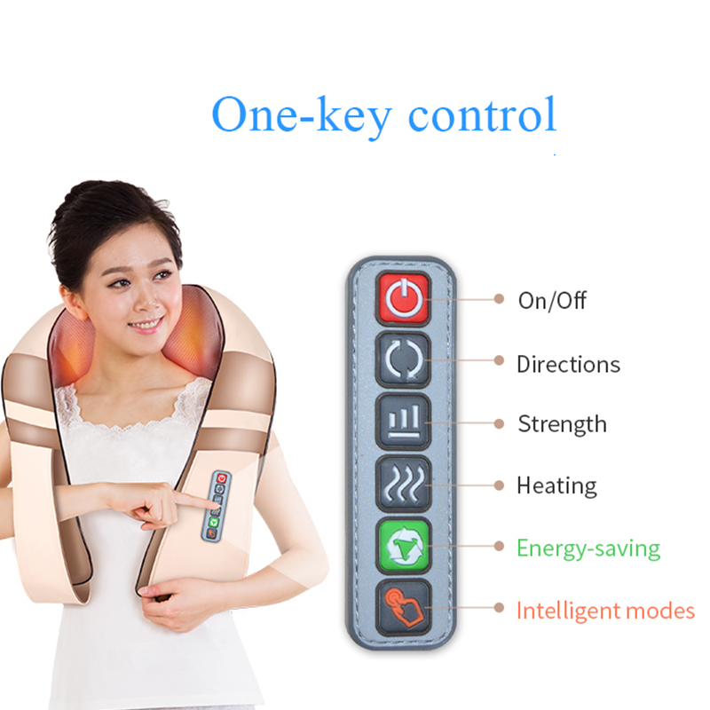 JinKaiRui U Shape Electrical Shiatsu Back Neck Shoulder Massager Body Spa Infrared 4D kneading Massagem Car Home Dual Use Masaje