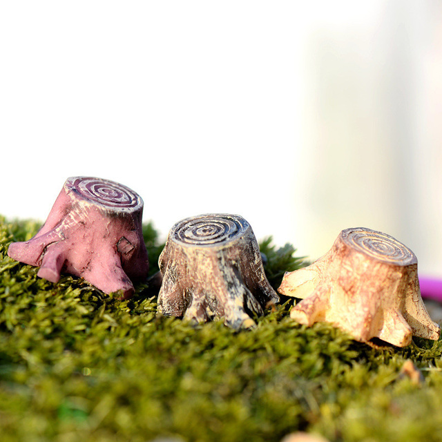 2pcs Tree Stump resin figurine decorative jardin Moss micro landscape home decor miniature fairy garden decoration accessories 3