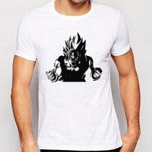 2018 Men's Fashion Muscle Son Goku Tee Japan Anime Dragon Ball Z T Shirt Super Saiyan Printed shirt Hipster Hot Tops Men Clothes
