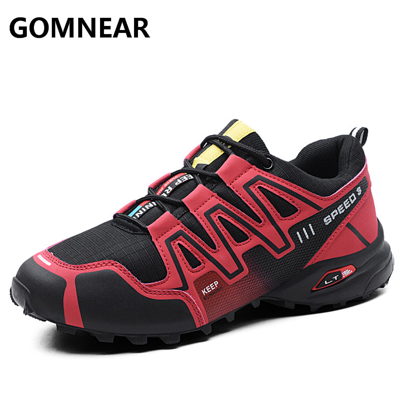 GOMNEAR Sneakers Men Outdoor Tourism Trekking Hinking Boots Camping Leather Men s Shoes Black Fishing Big