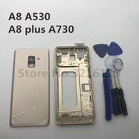 Full Housing Case Middle Frame+Rubber Seal Back Cover Replacement Parts For Samsung A8 2018 A530 A8 plus A730+Tools
