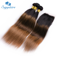 Сапфир бразильский ломбер коричневый TB/4/30 Цвет 3 пучки волос с 4x4 кружева Закрытие прямо 100% человеческих волос пучки с закрытием
