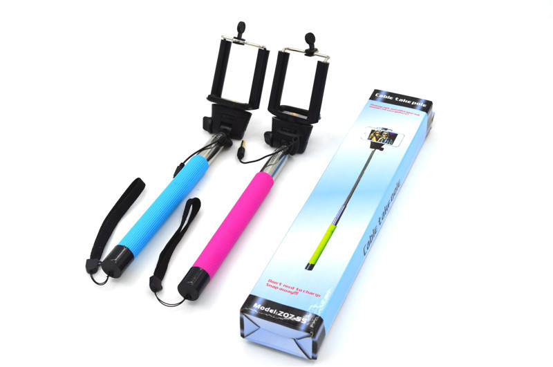 Adjustable gopro monopod with earphone audio cable take Photo selfie stick handheld phone camera self timer