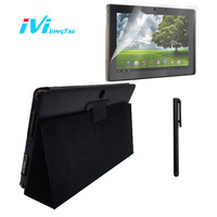 Clear Screen Protector Black Leather Case Cover Blue Soft Silicone Case For Asus Transformer Prime TF201