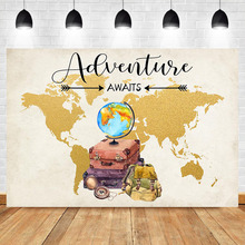 цена на Neoback World Map Travel Photo Backdrop Globe Adventure Child Baby Birthday Party Photography Background