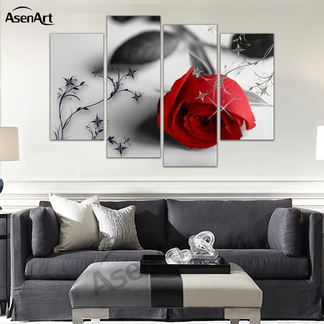 4 Panel Wall Art Flower Picture Rose Painting Canvas Prints Home Decoration  Living Room Bedroom Wall