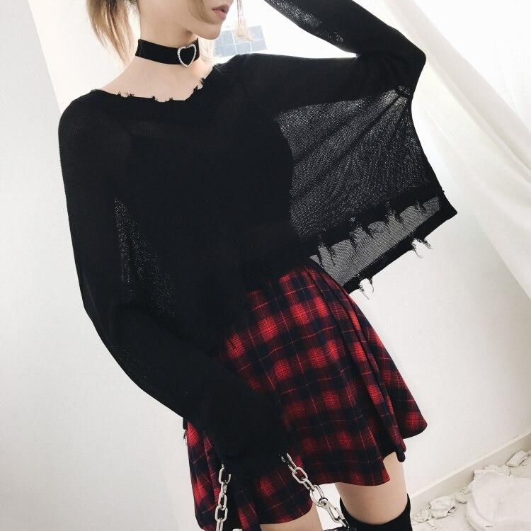 2019 New Arrival Gothic Black Casual Punk Style Women Sweatshirts Slim V Neck Girls Sexy Hot