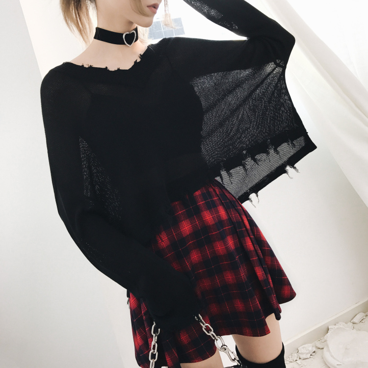 2019 New Arrival Gothic Black Casual Punk Style Women -3866