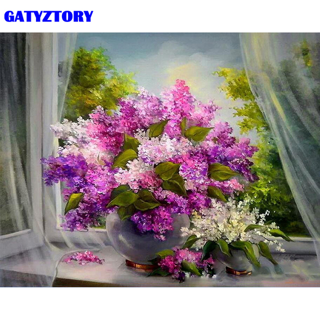 GATYZTORY Frame Flowers DIY Painting By Numbers Acrylic Paint On Canvas Wall Art Painting Coloring By Numbers For Home Decor Art
