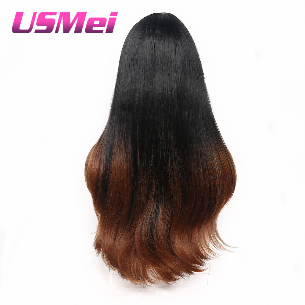USMEI röd ombre lång rak vågig mellersta syntetisk peruk för - Syntetiskt hår - Foto 5