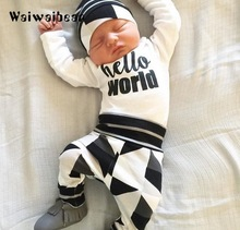 Waiwaibear Autumn Baby Sets Long-Sleeved T-shirt+Pants+Cap Newborn Baby 3pcs Suit Baby Clothing Set Infant Outfits For Boys 2017 autumn new born baby girls clothing sets infant long sleeved letter cotton t shirt