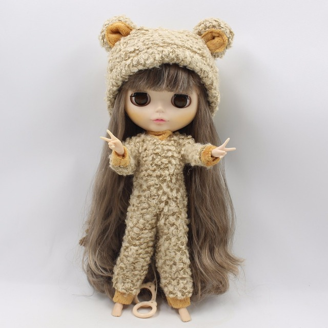Neo Blythe Doll Bear Suit Brown Outfit