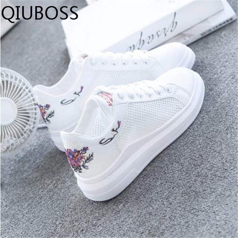 QIUBOSS Women Casual Shoes Summer 2018 Spring Women Shoes Fashion Embroidered Breathable Hollow Lace-Up Women Sneakers