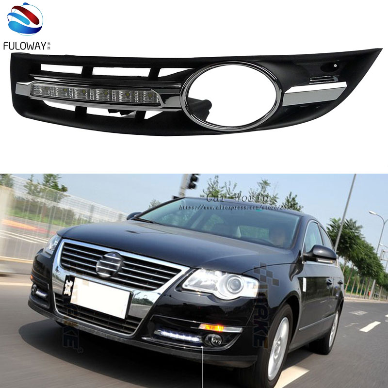 LED DRL Daytime Running Lights Fog Lamp Case for VW Volkswagen Passat 2007-2011 External Day Light DRL Accessories Car-styling hot sale abs chromed front behind fog lamp cover 2pcs set car accessories for volkswagen vw tiguan 2010 2011 2012 2013