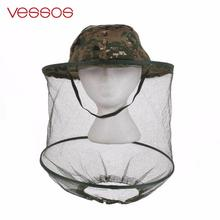 Vessos Camouflage Anti Mosquito Fishing Hat With Net Mesh Head Cover Fisherman Hat Beekeeping Camping Mask Face Protect Caps