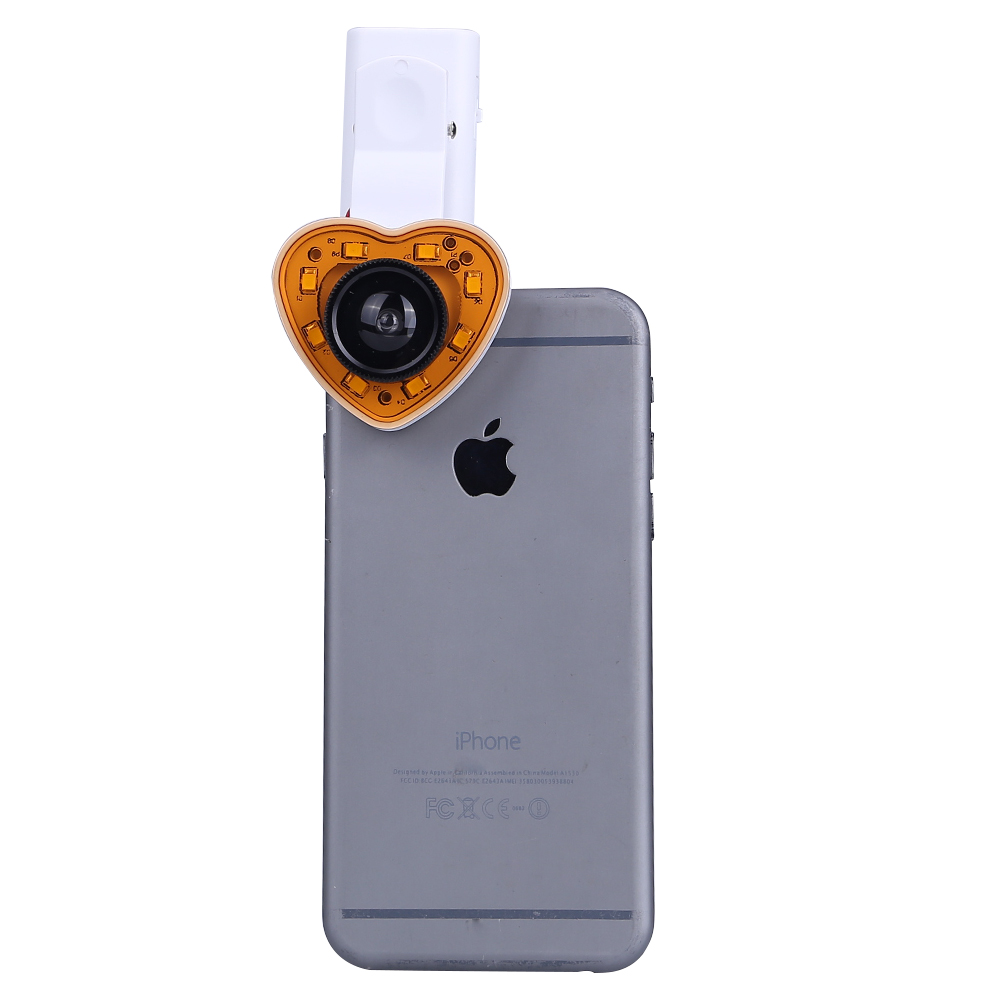 Universal Wide Angle Macro Mobile Phone Camera Lens Lenses LED Flash Light Fisheye Fish Eye Len For iPhone Samsung Xiaomi