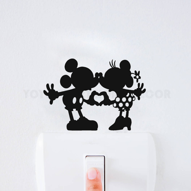 Removable Home Decorative Switch Stickers Minnie and Minnie Kissing Decor Stickers Children Room Light Switch Sticker AY1153