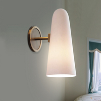copper glass wall lamp study bathroom mirror light simple headlights postmodern Nordic living room bedroom bedside wall lamp