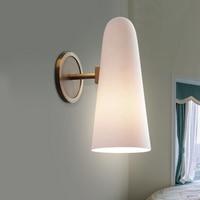 copper glass wall lamp study bathroom mirror light simple headlights postmodern Nordic living room bedroom bedside wall lamp
