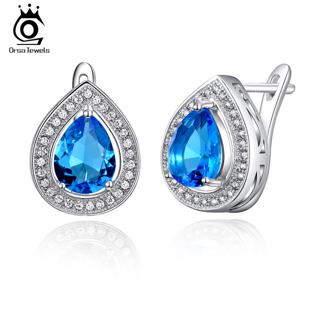 ORSA JEWELS Luxury 3ct AAA BLue Water Drop Crystal Earrings for Women Fashion Lead&Nickel Free Silver Color Brinco Jewelry OE97