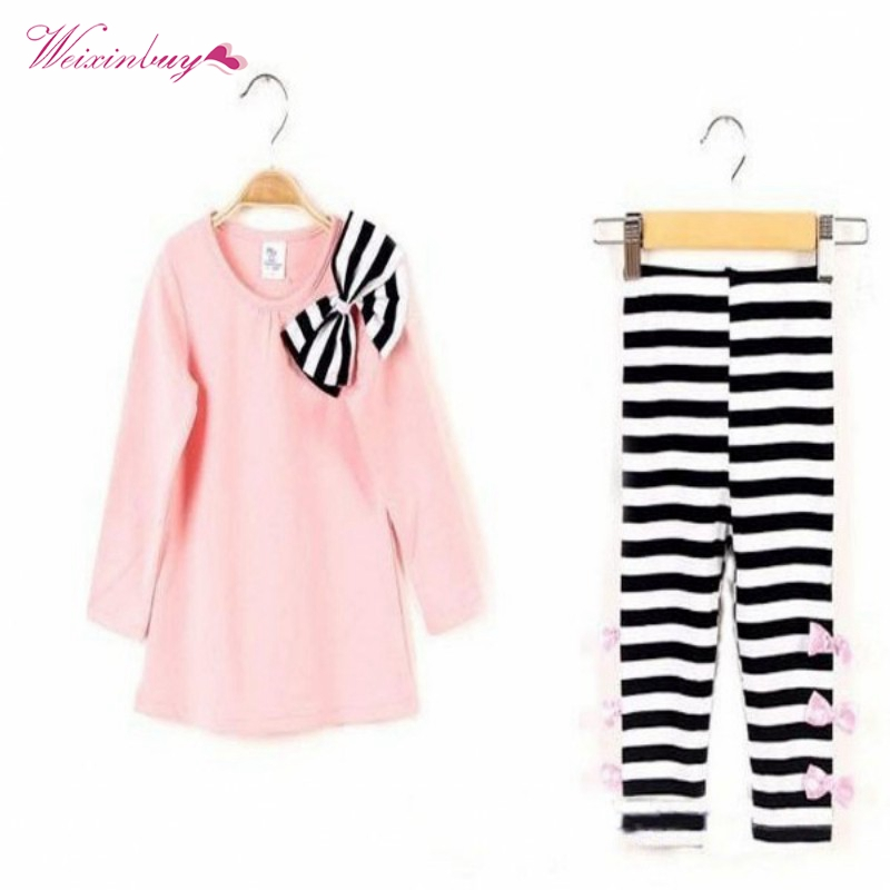 WEIXINBUY Children Sets Girls Bow Striped Leggings Suit Long Sleeve Cute Casual Solid Shirts Tops Sets Size 3-8 Y