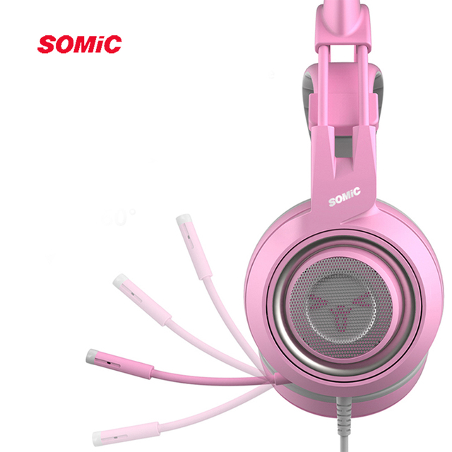 SOMIC G951s PS4 Pink Cat Ear Noise Cancelling Headphones 3.5mm Plug Girl Kids Gaming Headset with Microphone for Phone/Laptop 4